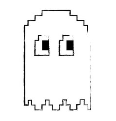 Pixelated ghost monster arcade game icon vector