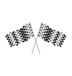 Rippled black and white crossed checkered flag vector