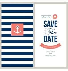 Save the date sailor theme vector