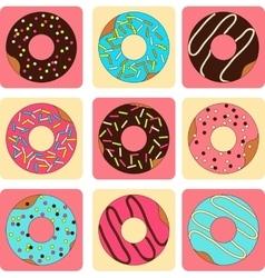 set of sweet donuts flat style vector image