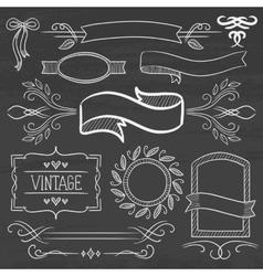 Set of vintage ribbons frames on a chalkboard vector