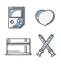 Set video game console to recreation activity vector