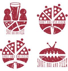 Vintage grunge labels set of sport bar and pizza vector