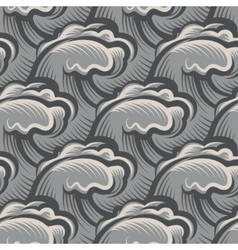 Vintage seamless ocean waves pattern vector
