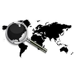 World map under magnifying glass vector image vector image