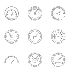 Speed measurement icons set outline style vector