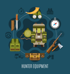 Hunter equipment concept vector