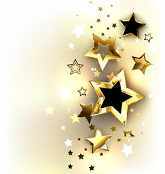 Gold stars on a light background vector