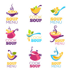 Cook soup collection of bowl full of tasty soup vector