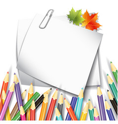 Paper sheet colorful pencils vector