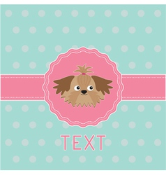 Pink ribbon and label with shih tzu dog card vector