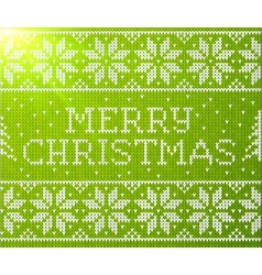 Green knitted seamless pattern with sign Merry vector image