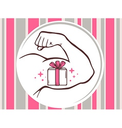 Strong man hand with icon of gift box on vector