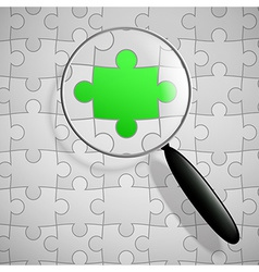 Puzzle and magnifier vector