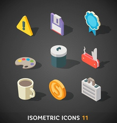 Flat isometric icons set 11 vector
