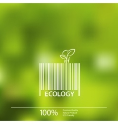 Ecology barcode symbol on blurry background vector