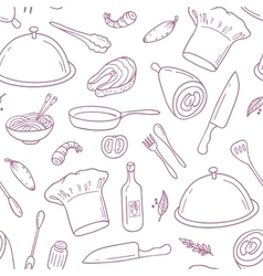 Outline seamless pattern with hand drawn food vector
