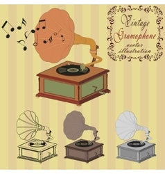 Vintage gramophone on the striped background vector