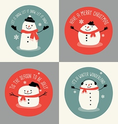 Cute snowman holiday greeting card set vector