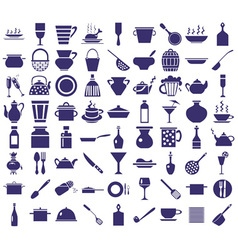 Kitchenware icons on a white vector