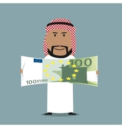 Arabian businessman with one hundred euro bill vector