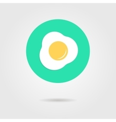 Green scrambled eggs icon with shadow vector
