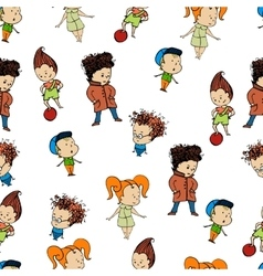 Pattern a group of childrenr baby design child vector