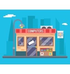Computer Shop Interior Seller Goods Offer Sale vector image