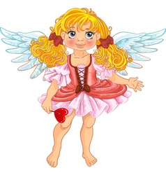 Pretty angel girl with wings vector