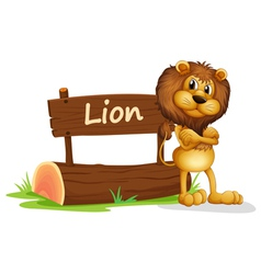 A signboard at the back of a scary lion vector image vector image