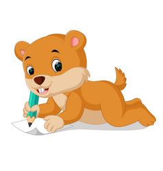 Cartoon chipmunk holding pencil vector