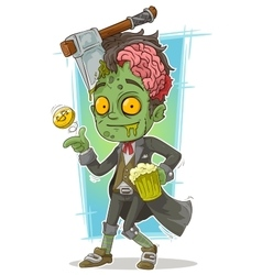 Cartoon pretty zombie with beer and axe vector image