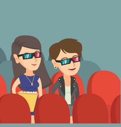 caucasian women watching 3d movie in the theatre vector image vector image