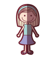 Color silhouette shading cartoon blonded hair girl vector