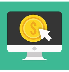 Computer Display Pay per Click Icon vector image vector image