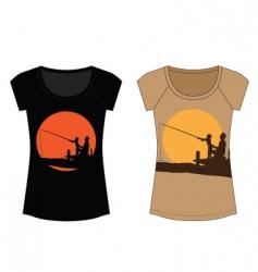 fishing woman t shirt vector image vector image