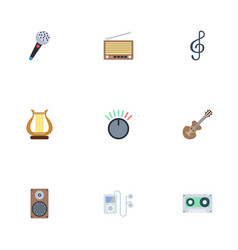 flat icons radio quaver knob and other vector image vector image