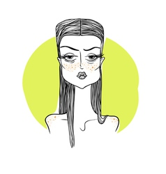 Girl with freckles on a yellow backgr vector