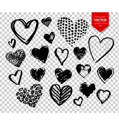 Hand drawn grunge Valentine hearts vector image vector image
