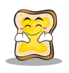 Happy face bread character cartoon vector