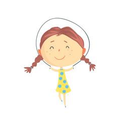 Happy little girl jumping rope kids outdoor vector