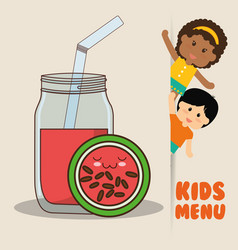 Kids menu children watermelon juice diet vector