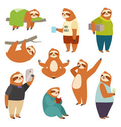 Laziness sloth animal character different human vector