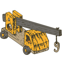 Orange wooden crane vector