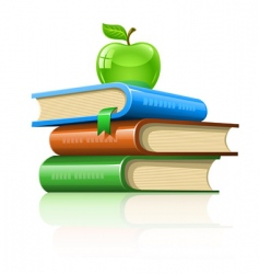 pile book with green apple vector image vector image