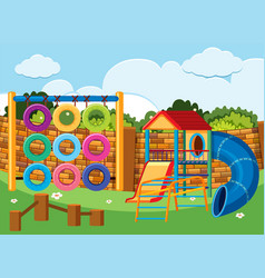 Playground scene with climbing station and slides vector