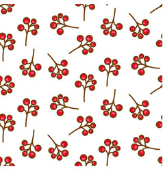 Red currant berry seamless pattern on white vector