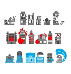Set building disasters destruction Flood and fire vector image