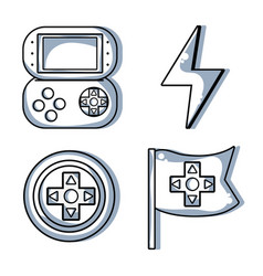 Set video gamepad with energy symbol vector