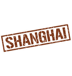 Shanghai brown square stamp vector